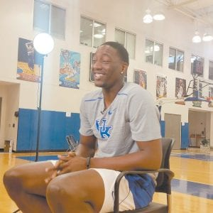 """Bam Adebayo says off the court """"I am a clown, a goofy guy."""" On the court, he can be intimidating. (Larry Vaught Photo)"""