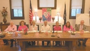 Whitesburg Mayor James W. Craft, center, and city council members wore pink Tuesday night in observance of Breast Cancer Awareness Month. To Craft's right are Earlene Williams, Robin Bowen Watko, and James Bates. To the mayor's left are Derek Barto, Sheila Shortt, and Larry Everidge. (Photo by Chris Caudill)