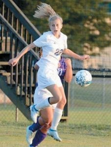— Buckley Sparks, daughter of Keith and Michelle Sparks of Bardstown, is pictured scoring her first varsity goal as a freshman. Buckley is the granddaughter of Buck and Shirley Sparks of Mayking, and Ralph and Judy Buckley of Bardstown.