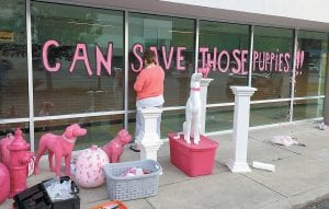 — Letcher County residents Debbie Back, pictured above, and Pauletta Breeding were busy earlier this week decorating the outside of Mountain Comprehensive Health Corporation's Whitesburg Medical Center, which is now offering specials on digital mammograms as the clinic observes Breast Cancer Awareness Month. (Eagle photo)