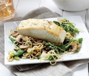Miso Halibut with Soba Noodle Stir-Fry