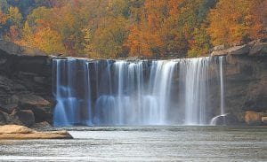 """— Letcher County photographer Thomas Biggs captured this beautiful autumn scene during a day trip to Cumberland Falls State Park near Corbin, about 85 miles from Whitesburg. The 68-feet tall and 125-feet wide falls are known as """"the Niagara of the South."""" (Photo by Thomas Biggs/TRB Photography)"""