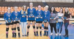 ALL 53rd DISTRICT TEAM — Letcher County's members of the 53rd District Volleyball All-Tournament Team included, from Letcher Central, tournament MVP Shelbi Kincaid, Haley Chadwell, Micayla Brashears, Emma Maggard, Brooke King, and Savannah Parsons. Chosen all-district from Jenkins were Alyssa Rose, Carrie Ford and Breaunna Rose. (All photos this page by Chris Anderson)