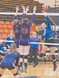 Letcher Central sophomore Kayte Morgan launches the ball across the net and by the Knott Central defense in last week's title game.