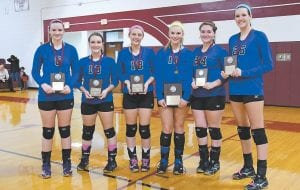 Leading their team to Louisville Six members of Letcher Central's volleyball team were named to the 14th Region All-Tournament team. They are, from left, Sydney Madden, Shelbi Kincaid, Kayte Morgan, Alli Shepherd, Meghan Combs and Emma Maggard. The Lady Cougars will play in the KHSAA State Volleyball Tournament in Louisville Thursday. (Photo by Chris Anderson)