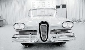 """On November 19, 1959 — 57 years ago this coming Saturday — Ford Motor Company announced it was ending production of its ill-fated Edsel brand of cars. Production of the Edsel, named in honor of former company president Edsel Ford (and a son of founder Henry Ford), began in Louisville in the fall of 1957. Two years later, the company had lost today's equivalent of $2.6 billion on the car, which the website Wikipedia now calls """"a popular symbol for a commercial failure."""" Pictured above is the Edsel Citation convertible on display in the fall of 1957. Pictured below is the rear end of the Edsel Citation 4 door hard top. Both were at a car dealership in Detroit, Michigan. Wikipedia points out that the Edsel is a valuable collector's item today, commanding prices of more than $100,000 for a mint-condition covertible. (AP Photos)"""