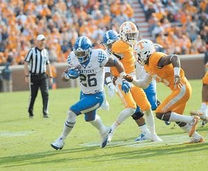 Benny Snell needs 146 yards to reach the 1,000-yard rushing mark. He's ranked as one of the nation's top freshmen players. (Photo by Vicky Graff )