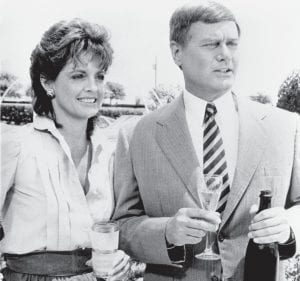 """On Friday night, November 21, 1980, television sets in 76 percent of all U.S. households (estimated at between 83 and 90 million) were tuned to the CBS network to find the answer of the """"Dallas"""" series cliffhanger, """"Who Shot J.R.?"""" J.R. Ewing (above right), known as """"the man America loved to hate,"""" was a character in """"Dallas"""" played by actor Larry Hagman. The question of who shot him had been on the minds of many since the amazingly-popular primetime drama's third season ended on March 21, 1979. J.R.'s estranged wife Sue Ellen (left), played by actress Linda Gray, was the prime suspect, but in the end it was Sue Ellen's sister and J.R.'s lover, Kristen Shepherd, who pulled the trigger. J.R. recovered from his wound and """"Dallas"""" continued its successful run until May 3, 1991. (AP Photo)"""