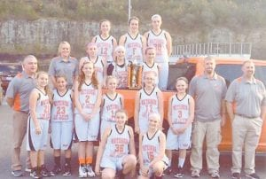 The Whitesburg Middle School Lady Jackets recently took first place in the Letcher County Elementary Athletic Association girls' A Team county basketball tournament. Pictured are (left to right, front) Head Coach Marvin Boggs, Gracie Parsons, Kyleigh Wright, Kiera Couch, Heidi Bentley, Courtney Hayes, Gracie Hatton, Ariana McMurl, Harley Driskell, Coach Jeremy Hayes, Principal Bart Frazier, (back row) Coach Amanda Sturgill, Isabelle Thomas, Abby Little, Madison Parsons, Brooke Bates, Kaci McCown and Kahlan Adams.
