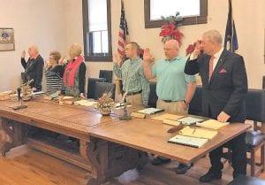 Taking the oath of office in Whitesburg Tuesday were, from left, James Bates, Robin Bowen Watko, Earlene Cornett, Derek Barto, Mike Jackson, and Larry Everidge.