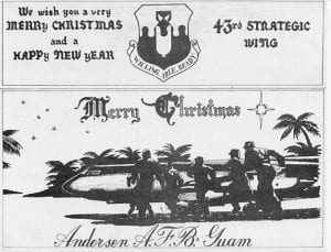 The printing of this Christmas postcard led to trouble in Guam in 1941.