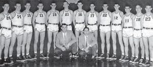 The 1954 Whitesburg Yellowjackets were 53rd District Tournament champions and runners-up in the 14th Region From left to right are 24-Eugene Sparks, 14-Bobby Kincer, 15-Wilgus Sexton, 13-Burky Holbrook, 19-Merida Logan, 21-Bert Bach, 16-James Crase, 17-Ralph Ogelvie, 22-Vernon Brown, 12-Rex Polly, 11-Robert Meade, 18-Buddy Fields, 23-Arlie Kincer. In the front are coaches Jim Boyd and Ray Pigman.