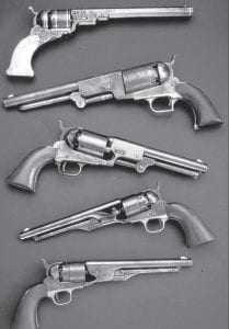 These handguns reflect the evolution of Samuel Colt's revolver. Colt's invention was the first practical revolving firearm. (AP Photo)