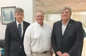 Pictured from left are Phil Miller, Van Breeding, and Kurt Mosley. Miller and Mosley are representatives of Staff Cares who interviewed Breeding for the Staff Cares 2017 Country Doctor of the Year Award.