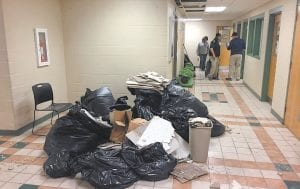 The Letcher County Courthouse was expected to remain closed until at least Thursday after a 2-inch water line feeding the building's sprinkler system burst and sent water and ceiling tiles down into nearly every office. Fortunately, the leak was discovered about 4:15 p.m. Monday while people were still inside the building.