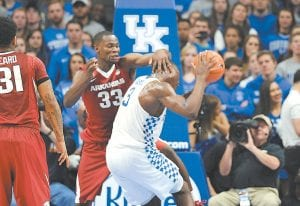 Kentucky's Bam Adebayo doesn't mind physical play like he faced against Arkansas and made a fan of coach Jack Doss in the McDonald's All-American Game. (Photo by Vicky Graff )