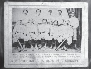Pro baseball dates back to February 2, 1876 Pictured above is a rare baseball card from 1869 of the Cincinnati Red Stockings, who lay the foundation for today's Major League Baseball. As MLB teams prepare to welcome pitchers and catchers to camp to signify the opening of Spring Training, it is worth remembering that on February 2, 1876, the National League of Professional Baseball Clubs, which came to be more commonly known as the National League (NL), was formed. The American League (AL) was established in 1901 and in 1903, the first World Series was held. The first official game of baseball in the United States took place in June 1846 in Hoboken, New Jersey. In 1869, the Cincinnati Red Stockings became America's first professional baseball club, according to the History Channel. (AP Photo/Fresno Bee)