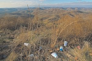 "Discarded drink cups and other debris greet passers-by who stop at this scenic overlook on U.S. 119, near the top of Pine Mountain near Whiteburg. Pine Mountain is one of several landmarks in Letcher County that are being ""trashed."""