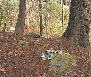 This assortment of garbage lies near the top of Pine Mountain.