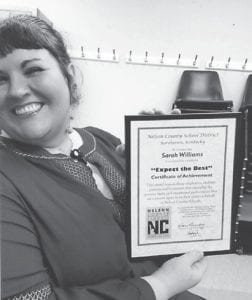 — Sarah Williams recently received a certificate of achievement from the Nelson County School District where she is a special education teacher in Bardstown. She is the daughter of Jim and Ida Adkins of Sergent. Her grandparents are Jean Adkins and the late Ray Adkins, and Delmer and Arlena Webb, all of Whitesburg.