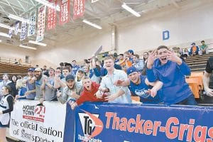 The Letcher Central student section was lively during Tuesday's winning effort against Cordia in the 53rd District Tournament at Knott Central. (Photos by Chris Anderson)