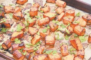 Roasted Sweet Potato and Carrots in Quick Soy Sauce Marinade. (AP Photo)
