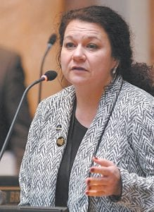 State Representative Angie Hatton of Letcher County spoke on the House floor in Frankfort last week.