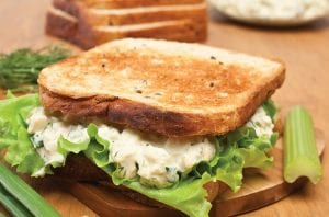 SPICY EGG SALAD SANDWICH MADE WITH EGGS COOKED IN TOASTER OVEN.