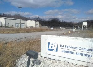 A building formerly used by natural gas well servicer BJ Services Company is for sale at the Gateway Industrial Park at Jenkins. (Photo by Sam Adams)