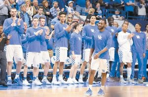 Dominique Hawkins was applauded loudly by fellow University of Kentucky players during Senior Day ceremonies at Rupp Arena last week. (Photo by Vicky Graff )