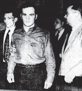 ACCUSED OF MURDER IN 1947 — Suspect Jasper Nease, 21, of McRoberts was photographed during a court appearance in the weeks after Nease and two other men were charged with murdering an exparatrooper from Louisville. A Letcher County physician and several local police officers played a major role in solving the crime, which shocked many. (Photo courtesy The Courier-Journal of Louisville)