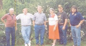 Pictured are Whitesburg correspondent Oma Hatton and her family, the late Clyde Hatton, Rob Hatton, Astor Hatton, Billy Hatton and Larry Hatton, before 2009 when her husband Clyde died.