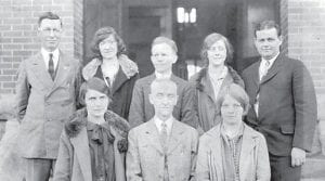 WHS FACULTY 1927-28 — Back row left to right, E.B. Hale, Cecile Elliott, William Harris, Elis Cleary, and Marvin Glenn. Front Row left to right, Adaline Colyer, R. Dean Squires, Principal and Hazel Lewis.