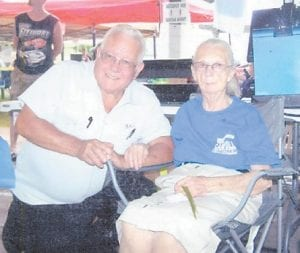 Elzie Ray Hatton and his sister, Hazel Hatton Hart, are pictured at the 2014 festival in Jenkins. (Photo by Bertha Eldridge)