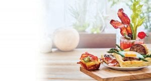 Cheesy Bacon Jalapeno Corn Muffins and Sausage and Egg Tarts with Asparagus and Tomatoes