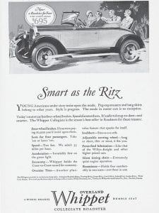 'WHIPPET' GOOD — In 1927, 90 years ago this week, Banks Motor Company of Fleming was one of many car dealers nationwide proclaiming the arrival of the acclaimed new Whippet, a European-style small car manufactured by Willys-Overland, the company best known for its production of the Jeep. Pictured above and below are advertising materials associated with the 1927 Whippets manufactured and sold in the United States.