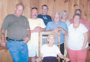 Pictured at the 2013 Hatton reunion at Cowan Community Center are (standing) Johnny Caudill, Ivan Hatton, Clyde Hatton, Ray Hatton, Joyce Hatton Buchanan, Jamie Hatton, Vickie Hatton Underwood, and (seated) Hazel Hatton Hart.