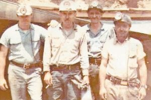 From left to right are miners David Sexton, Jim Fields and Tommy Hall. The miner on the far right is unidentified and Whitesburg correspondent Oma Hatton says she would like to know if anyone recognizes him.