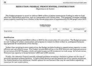 """Pictured above is a page contained in President Donald J. Trump's proposed federal budget for 2018, in which Trump states his """"justification"""" for redirecting the $444 million authorized by former President Barack Obama for a new federal prison at Roxana and using the money """"to fund other law enforcement priorities, such as immigration and violent crime. U.S. Rep. Harold """"Hal"""" Rogers says he'll stop Trump's proposal."""