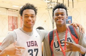 LONGTIME FRIENDS — Jarred Vanderbilt, right, and PJ Washington have known each other for years and Vanderbilt's father says they will play well together next season at Kentucky. (USA Basketball Photo)