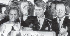 49 YEARS AGO THIS WEEK, U.S. Senator Robert F. Kennedy was photographed on the morning of Saturday, June 5 holding two fingers up in a victory sign as he talked to campaign workers at the Ambassador Hotel in Los Angeles as his wife Ethel, left, and California speaker of the California Assembly, Jesse Unruh, looked on. Kennedy was addressing the crowd after winning the California primary election. Only a few minutes later, he was shot and killed by 22-year-old Palestinian native Sirhan Sirhan. RFK died on June 6. Hubert Humphrey went on to win the Democrat Pary nomination, but lost to Richard M. Nixon in the fall. (AP Photo)