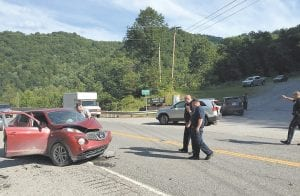 Some of the drivers and passengers involved in a three-car crash near the Whitesburg hospital early Tuesday night were injured,but none critically, Whitesburg City Police said. Autos involved in the accident, which occurred at the entrance to baseball-busy Earnest Cook Memorial Park, were a Nissan Juke (left), a KIA Sorrento (center), and Ford Edge (right). Police were still investigating the accident at press time Tuesday night and were unable to release names of the drivers and the nature of the injuries suffered.