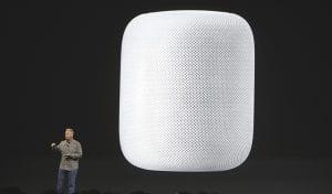 Phil Schiller, Apple's Senior Vice President of Worldwide Marketing, introduced the HomePod speaker. (AP Photo)