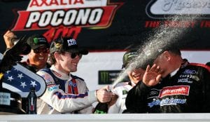 Ryan Blaney celebrated in Victory Lane after winning the NASCAR Cup Series Pocono 400 auto race on Sunday in Long Pond, Pa. (AP Photo)