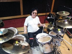 """In this June 15 photo, drummer and vocalist Peter Criss rehearsed in a New York City studio for his final U.S. performance held on Saturday, June 17. The co-founding member of Kiss best known for the hit single """"Beth"""" says he wants to leave the stage on his own terms after a series of unhappy endings with Kiss. (AP Photo/Wayne Parry)"""