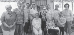 Attending the meeting of the Pine Mountain Chapter, National Society Daughters of the American Revolution, were (left to right, first row) Shirley June Whitaker, Elsie Caudill Banks, Ava (granddaughter of member Kathy LaMonte), (second row) Marsha Kincer Banks, Kathy Sigrest LaMonte of Clinton, Miss., Kaye Combs Moore, Rachel Breeding, Lisa Giles, Mahala Reynolds Frazier, Rebecca Ann Reynolds, Sally Fugate Caudill and Vernell Gibson Mullins.