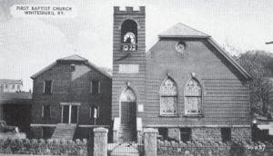 This image taken from an old postcard shows Whitesburg First Baptist Church before it was torn down in the mid-1960's. The church was located at the corner of Main Street, Railroad Street and College Drive in downtown Whitesburg.