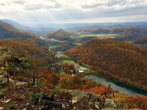 Jenny Collins caught this breathtaking view from Raven Rock near the Pound Gap of Pine Mountain. Included in the photo are views of Elkhorn Lake at Jenkins, Jenkins Middle High School and sports fields, the Gateway Industrial Park, and U.S. 23. Collins captured the photo using her iPhone camera. (Photo by Jenny Collins)