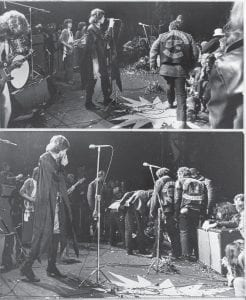 Mick Jagger, top photo, sings at the Altamont Rock Festival at Livermore, Calif., in this Dec. 6, 1969 photo while Hells Angels cross the stage during a melee to help fellow motorcyclists. At the bottom Jagger looks at the motorcyclists after they dragged onstage an unidentified person whom they mauled during the concert. (AP Photos)