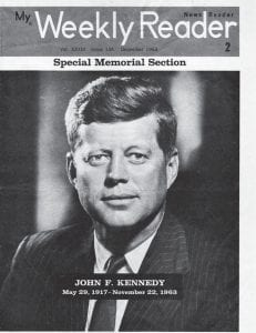 Pictured above is the cover of a special section that accompanied an edition of The Weekly Reader published in December 1963 in the weeks following the assassination of President John F. Kennedy. Some three years before, elementary school readers of the publication took part in a poll asking whether Kennedy or then-Vice President Richard M. Nixon would win the 1960 presidential race.